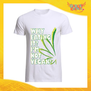 "T-Shirt Uomo Bianca ""I'm Not Vegan"" Maglia per l'estate Idea Regalo Maglietta Maschile Gadget Eventi"