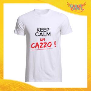 """T-Shirt Uomo Bianca """"Keep Calm un Cazzo"""" Maglia Maglietta Maschile Idea Regalo Divertente per un Ragazzo Gadget Eventi"""