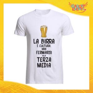 """T-Shirt Uomo Bianca """"La Birra è Cultura"""" Maglia Maglietta Maschile Idea Regalo Divertente per un Ragazzo Gadget Eventi"""