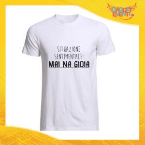 """T-Shirt Uomo Bianca """"Mai Na Gioia"""" Maglia Maglietta Maschile Idea Regalo Divertente per un Ragazzo Gadget Eventi"""