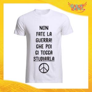 """T-Shirt Uomo Bianca """"Non fate la Guerra"""" Maglia Maglietta Maschile Idea Regalo Divertente per un Ragazzo Gadget Eventi"""