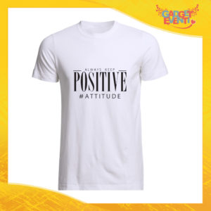 """T-Shirt Uomo Bianca """"Positive Attitude"""" Maglia Maglietta Maschile Idea Regalo Divertente per un Ragazzo Gadget Eventi"""