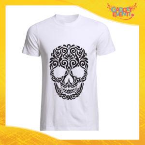 """T-Shirt Uomo Bianca """"Skull Decoration"""" Maglia Maglietta Maschile Idea Regalo Divertente per un Ragazzo Gadget Eventi"""