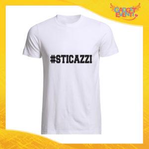 """T-Shirt Uomo Bianca """"Sticazzi"""" Maglia Maglietta Maschile Idea Regalo Divertente per un Ragazzo Gadget Eventi"""