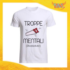 """T-Shirt Uomo Bianca """"Troppe Pippe Mentali"""" Maglia Maglietta Maschile Idea Regalo Divertente per un Ragazzo Gadget Eventi"""