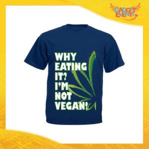 "T-Shirt Uomo Blu Navy ""I'm Not Vegan"" Maglia per l'estate Idea Regalo Maglietta Maschile Gadget Eventi"