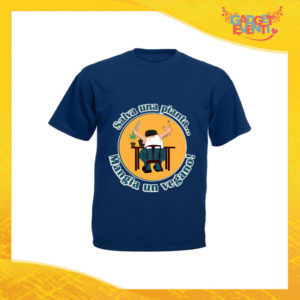 """T-Shirt Uomo Blu Navy """"Mangia un Vegano"""" Maglia per l'estate Idea Regalo Maglietta Maschile Gadget Eventi"""