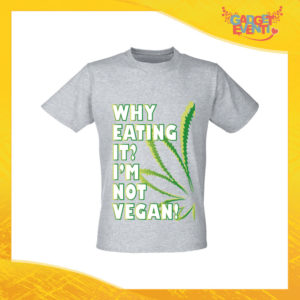 """T-Shirt Uomo Grigia """"I'm Not Vegan"""" Maglia per l'estate Idea Regalo Maglietta Maschile Gadget Eventi"""