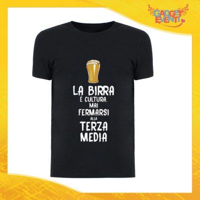 """T-Shirt Uomo Nera """"La Birra è Cultura"""" Maglia Maglietta Maschile Idea Regalo Divertente per un Ragazzo Gadget Eventi"""