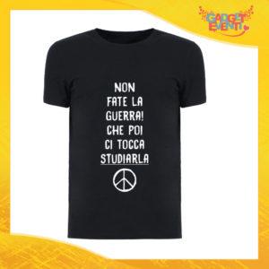 """T-Shirt Uomo Nera """"Non fate la Guerra"""" Maglia Maglietta Maschile Idea Regalo Divertente per un Ragazzo Gadget Eventi"""