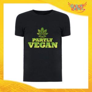 """T-Shirt Uomo Nera """"Partly Vegan"""" Maglia per l'estate Idea Regalo Maglietta Maschile Gadget Eventi"""