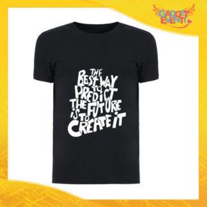 """T-Shirt Uomo Nera """"Predict The Future"""" Maglia Maglietta Maschile Idea Regalo Divertente per un Ragazzo Gadget Eventi"""