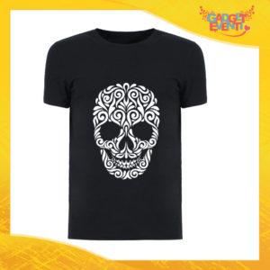 """T-Shirt Uomo Nera """"Skull Decoration"""" Maglia Maglietta Maschile Idea Regalo Divertente per un Ragazzo Gadget Eventi"""