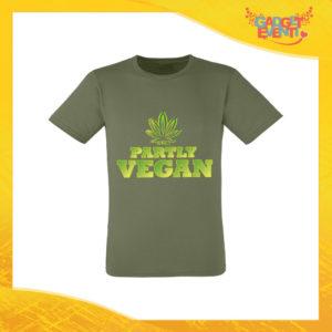 """T-Shirt Uomo Verde Oliva """"Partly Vegan"""" Maglia per l'estate Idea Regalo Maglietta Maschile Gadget Eventi"""
