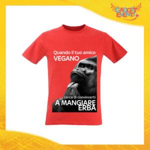 """T-Shirt Uomo Rossa """"Amico Vegano"""" Maglia per l'estate Idea Regalo Maglietta Maschile Gadget Eventi"""