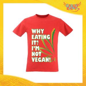 """T-Shirt Uomo Rossa """"I'm Not Vegan"""" Maglia per l'estate Idea Regalo Maglietta Maschile Gadget Eventi"""