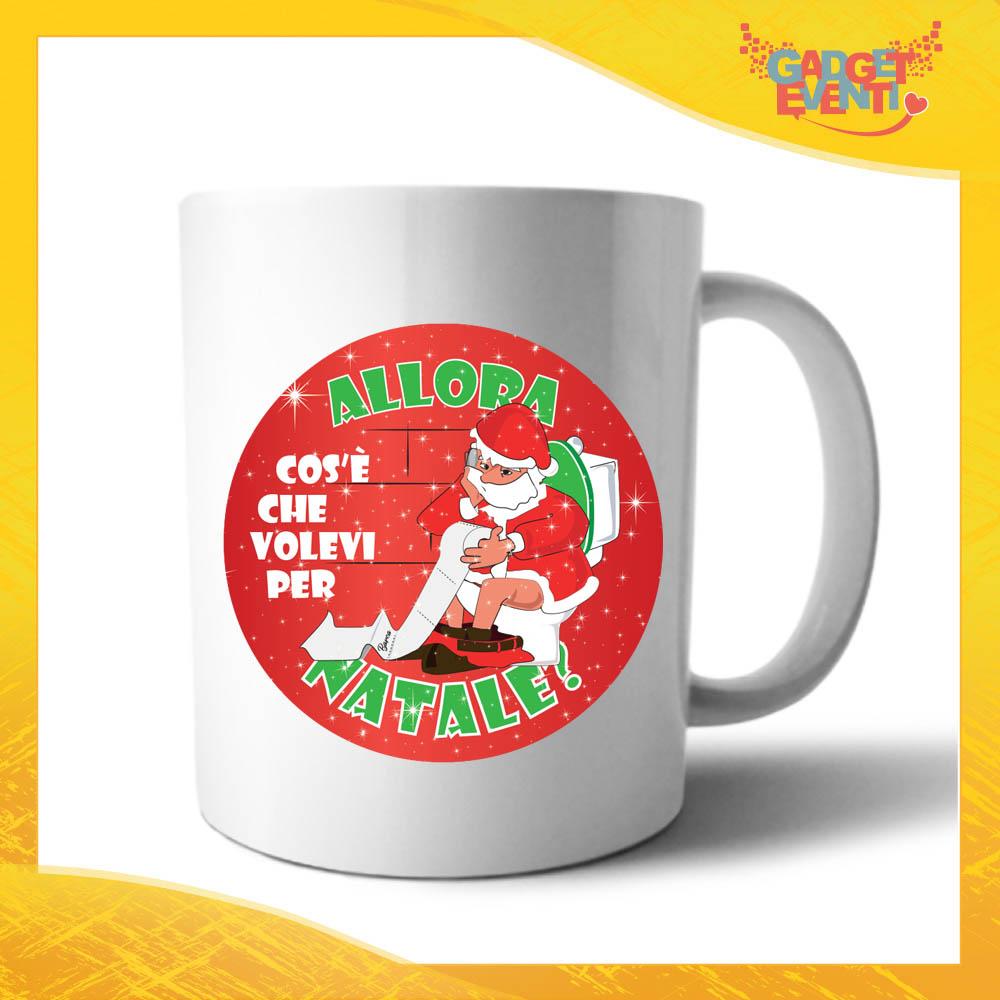 """Tazza Natalizia Personalizzata Grafica Rossa """"Cosa Volevi per Natale"""" Mug Colazione Breakfast Idea Regalo Festività Natalizie Gadget Eventi"""