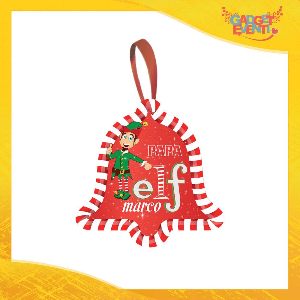 """Addobbo Natalizio Campana Grafica Rossa Modello Uomo """"Elf Family"""" Appendino per Albero e Decorazioni Idea Regalo Natalizia Originale Gadget Eventi"""