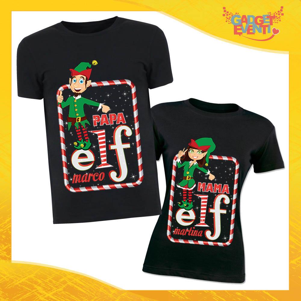 """Coppia di T-Shirt Natalizie Nere con Nome Personalizzato """"Elf Family"""" Magliette per Uomo e Donna Maglie Originali Idea Regalo Periodo Natalizio Gadget Eventi"""