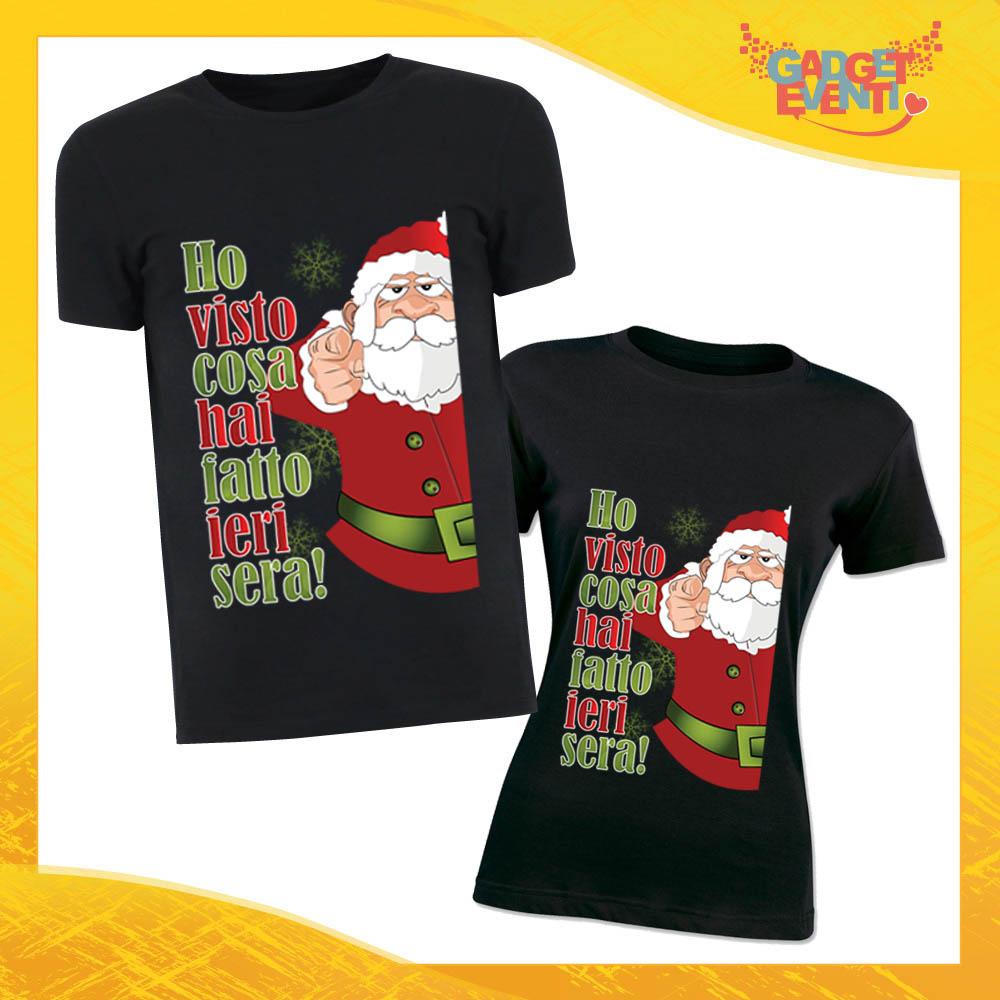 """Coppia di T-Shirt Natalizie Nere Personalizzeta """"Ho visto cosa hai fatto"""" Magliette per Uomo e Donna Maglie Originali Idea Regalo Periodo Natalizio Gadget Eventi"""