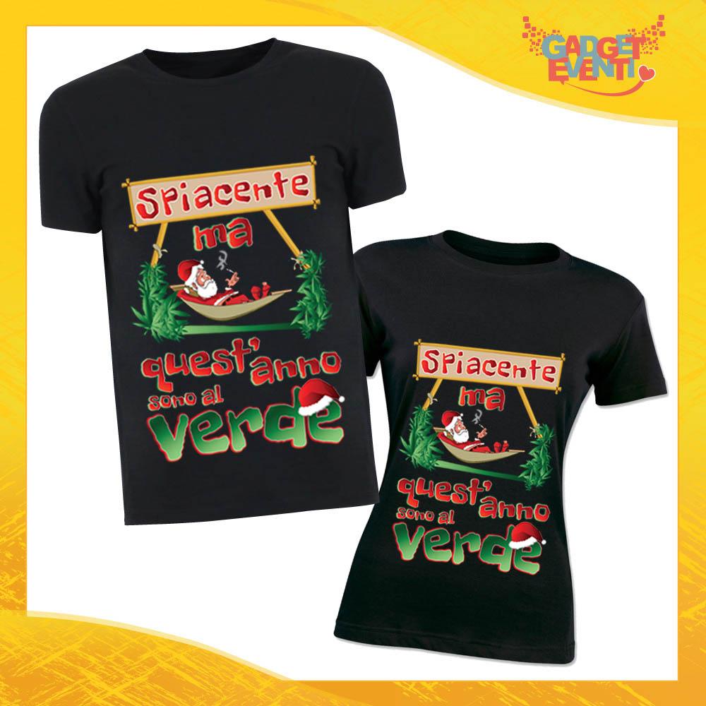 """Coppia di T-Shirt Natalizie Nere Personalizzate """"Quest'anno sono al Verde"""" Magliette per Uomo e Donna Maglie Originali Idea Regalo Periodo Natalizio Gadget Eventi"""