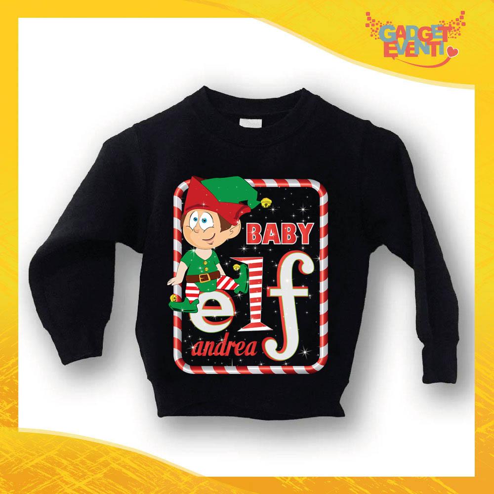 """Felpa Bimbo Natalizia Maschietto Nera """"Elf Family"""" Girocollo Felpina per l'inverno Maglione Natalizio Idea Regalo per Bambini Gadget Eventi"""
