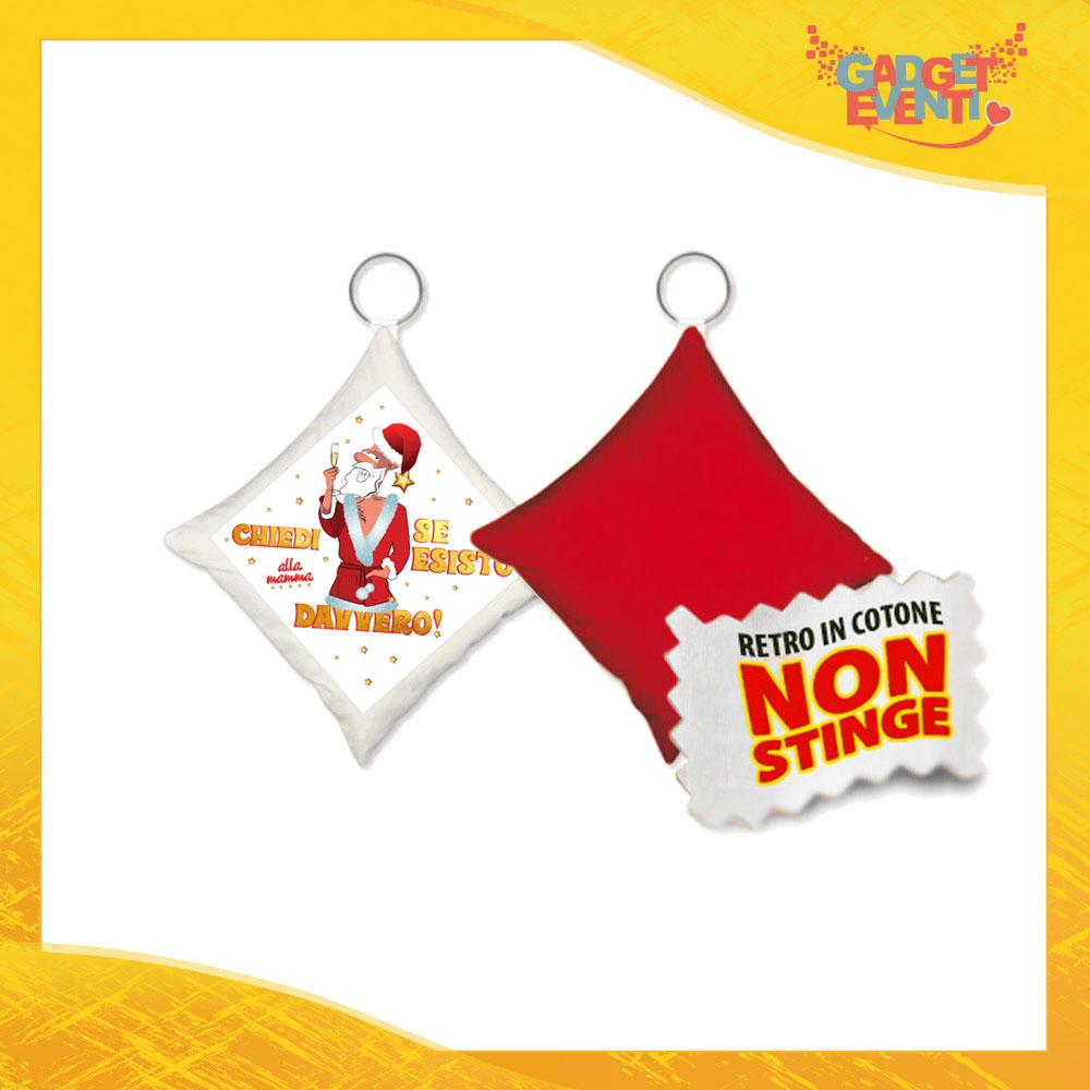 """Mini Cuscino Natalizio Personalizzato Retro Rosso Grafica Bianca """"Chiedi alla Mamma"""" Mini Federa Natalizia Idea Regalo Gadget Eventi"""