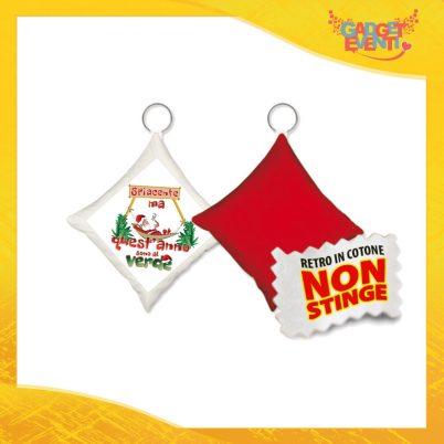 """Mini Cuscino Natalizio Personalizzato Retro Rosso Grafica Bianca """"Quest'anno sono al Verde"""" Mini Federa Natalizia Idea Regalo Gadget Eventi"""