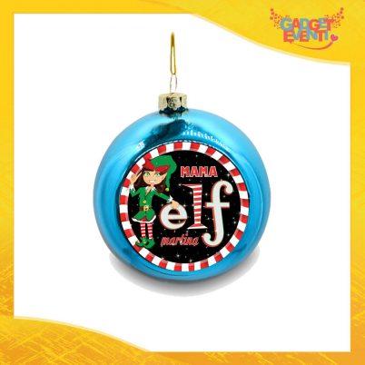 """Addobbo Palla Natalizia Blu Grafica Nera Modello Uomo """"Elf Family"""" Appendino Natalizio per Decorazioni Idea Regalo Festività Natalizie Gadget Eventi"""