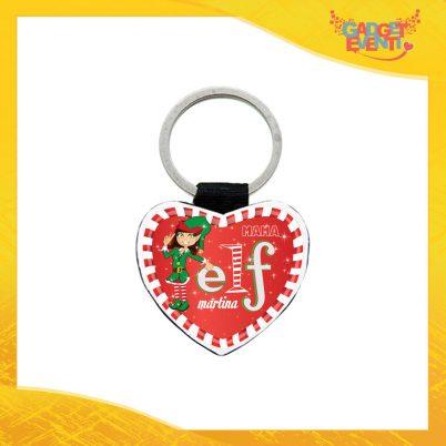 """Portachiavi in Similpelle Forma a Cuore Grafica Rossa Modello Donna """"Elf Family"""" Idea Regalo Natalizio in Ecopelle Gadget Eventi"""