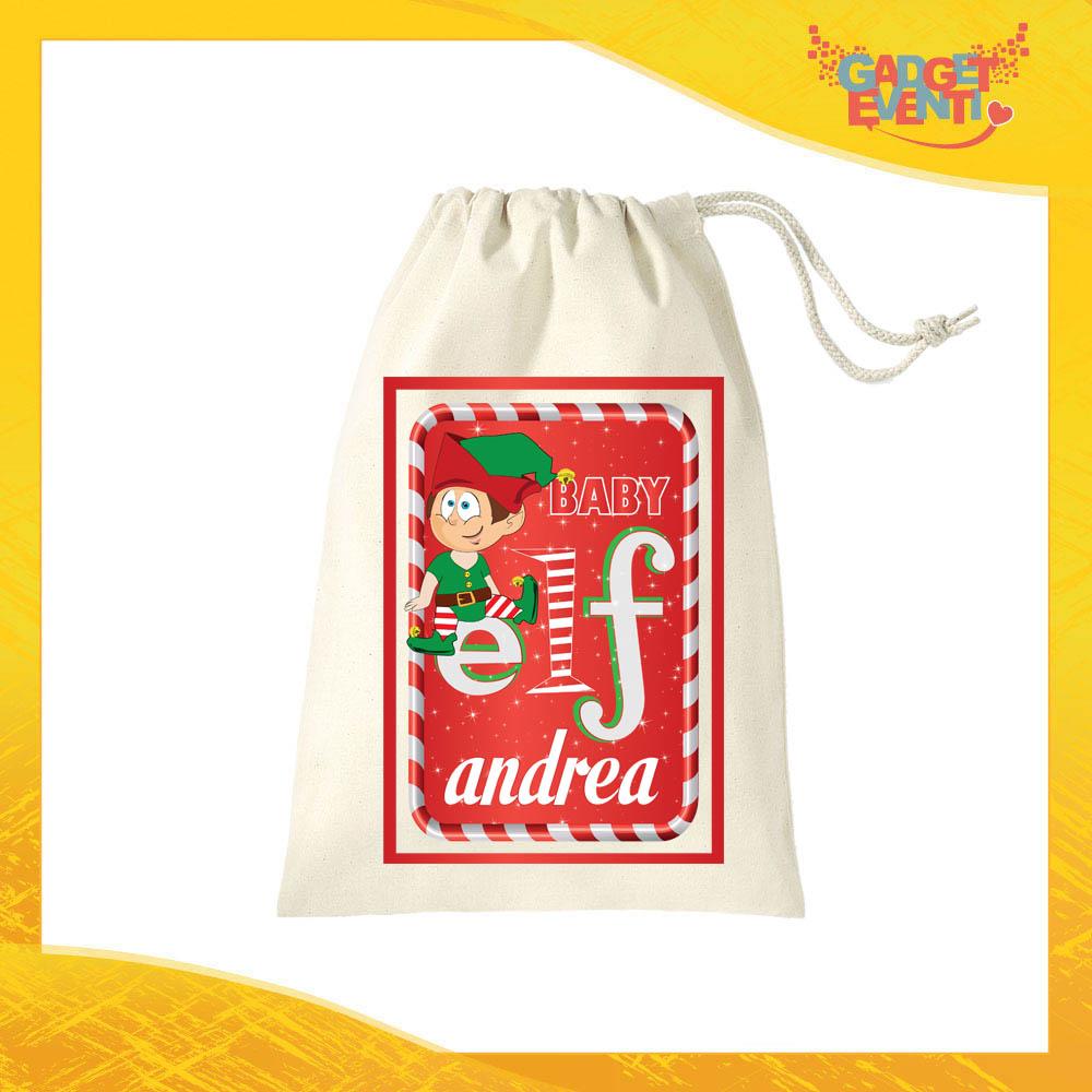 """Sacco Natalizio Porta Regali Personalizzato con Nome Grafica Rossa Modello Bimbo """"Elf Family"""" Idea Regalo Sacchetto per Regalini in Cotone Gadget Eventi"""