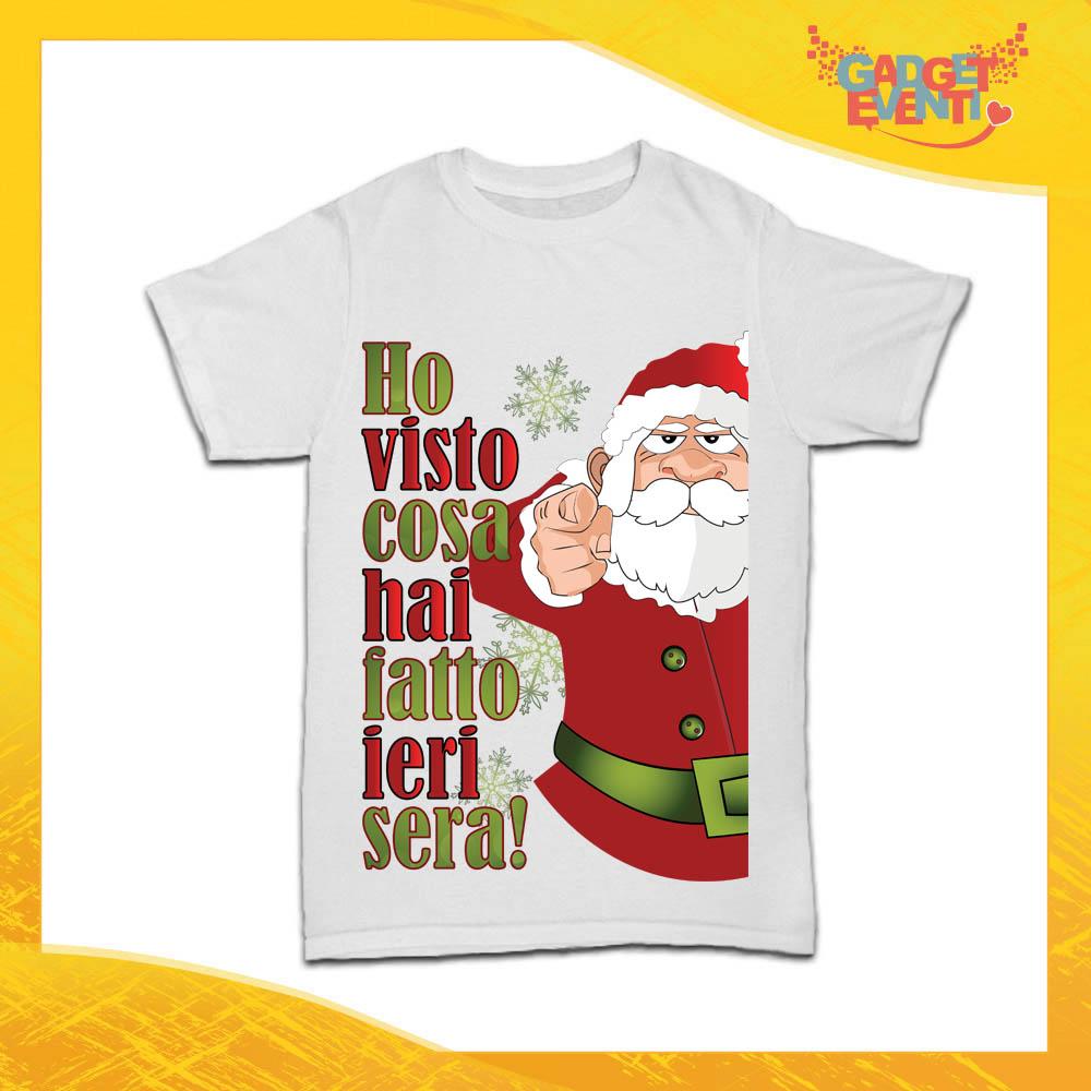 """T-Shirt Bimbo Natalizia Bianca """"Ho visto cosa hai fatto"""" Maglietta per l'inverno Maglia Natalizia Idea Regalo per Bambini Gadget Eventi"""