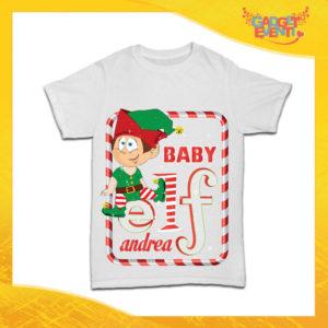 """Maglietta Bianca Bimbo Maschietto """"Elf Family"""" Idea Regalo T-Shirt Baby Gadget Eventi"""