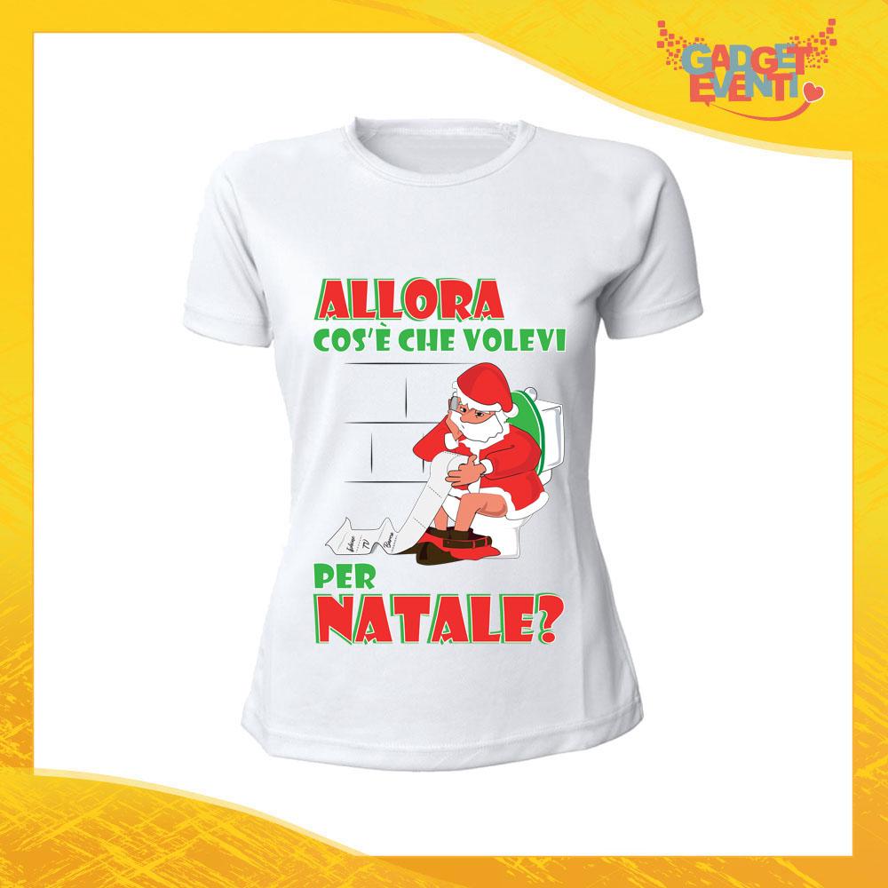 """T-Shirt Donna Natalizia Bianca """"Cosa volevi per Natale"""" Maglietta per l'inverno Maglia Natalizia Idea Regalo Gadget Eventi"""
