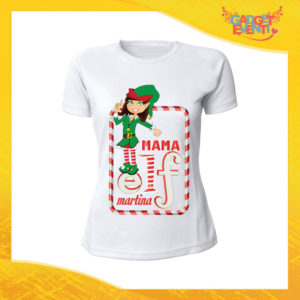 """T-Shirt Donna Natalizia Bianca """"Elf Family"""" Maglietta per l'inverno Maglia Natalizia Idea Regalo Gadget Eventi"""