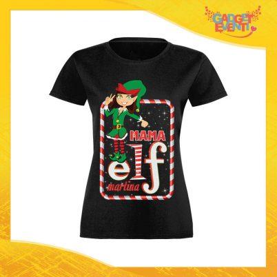 """T-Shirt Donna Natalizia Nera """"Elf Family"""" Maglietta per l'inverno Maglia Natalizia Idea Regalo Gadget Eventi"""