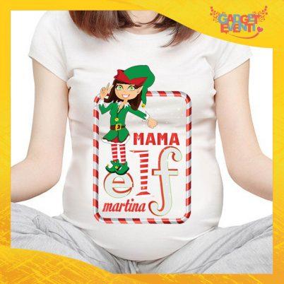 """T-Shirt Premaman Bianca Personalizzata """"Elf Family"""" Maglia per Mamme in dolce attesa Idea Regalo Maglietta Femminile Comoda per Donne con Pancione Gadget Eventi"""