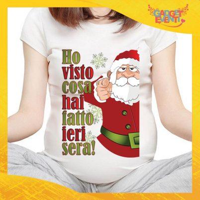 """T-Shirt Premaman Bianca Personalizzata """"Ho visto cosa hai fatto """" Maglia per Mamme in dolce attesa Idea Regalo Maglietta Femminile Comoda per Donne con Pancione Gadget Eventi"""