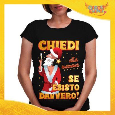 """T-Shirt Premaman Nera Personalizzata """"Chiedi alla Mamma"""" Maglia per Mamme in dolce attesa Idea Regalo Maglietta Femminile Comoda per Donne con Pancione Gadget Eventi"""