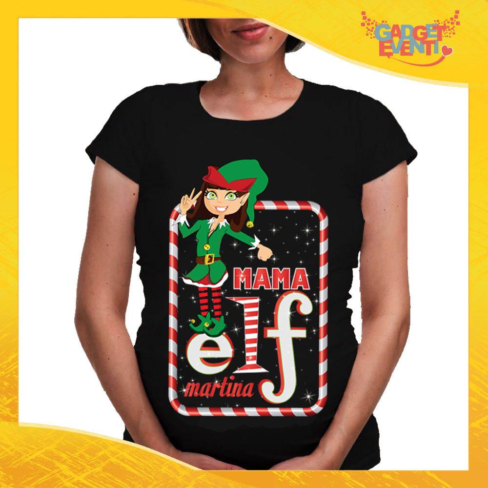 """T-Shirt Premaman Nera Personalizzata """"Elf Family"""" Maglia per Mamme in dolce attesa Idea Regalo Maglietta Femminile Comoda per Donne con Pancione Gadget Eventi"""