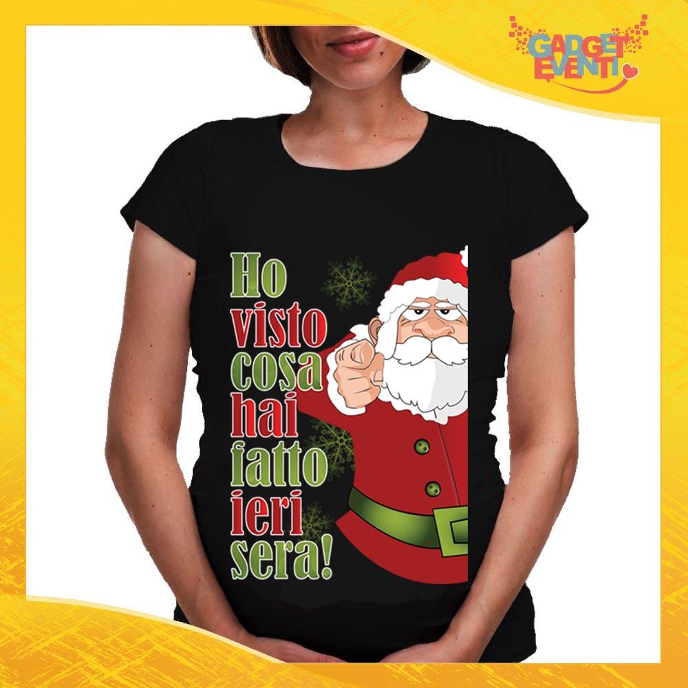 """T-Shirt Premaman Nera Personalizzata """"Ho visto cosa hai fatto """" Maglia per Mamme in dolce attesa Idea Regalo Maglietta Femminile Comoda per Donne con Pancione Gadget Eventi"""