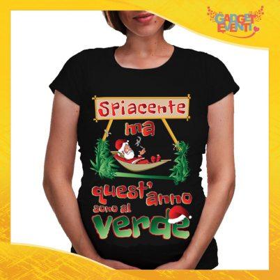"""T-Shirt Premaman Nera Personalizzata """"Quest'anno sono al Verde"""" Maglia per Mamme in dolce attesa Idea Regalo Maglietta Femminile Comoda per Donne con Pancione Gadget Eventi"""