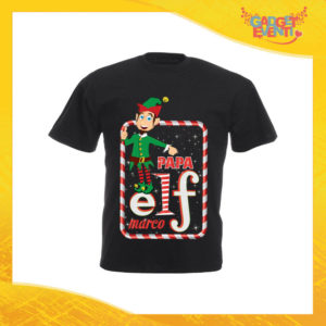 """T-Shirt Uomo Natalizia Nera """"Elf Family"""" Maglietta per l'inverno Maglia Natalizia Idea Regalo Gadget Eventi"""