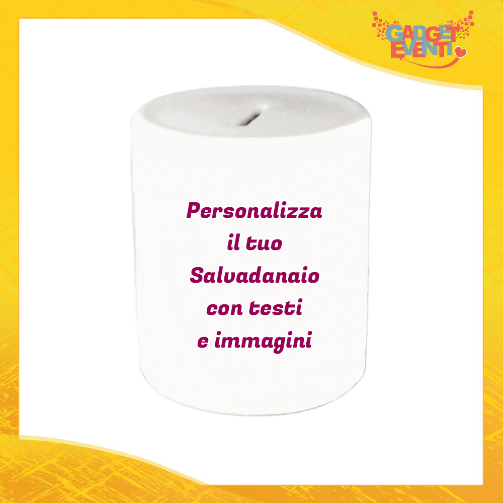 Salvadanaio Portamonete in ceramica personalizzato con foto, testi e immagini Porta risparmi monetine e monete Simpatica Idea Regalo Gadget Eventi