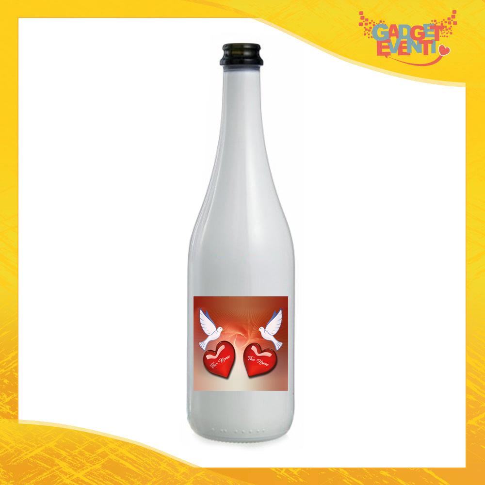 """Bottiglia da Vino Love 75 ml Personalizzata per San Valentino """"Colombe e Cuori con Nomi"""" Idea Regalo per Innamorati Gadget Eventi"""