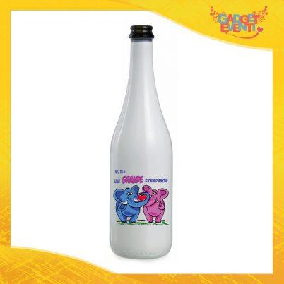 """Bottiglia da Vino Love 75 ml Personalizzata per San Valentino """"Grande Storia d'amore"""" Idea Regalo per Innamorati Gadget Eventi"""