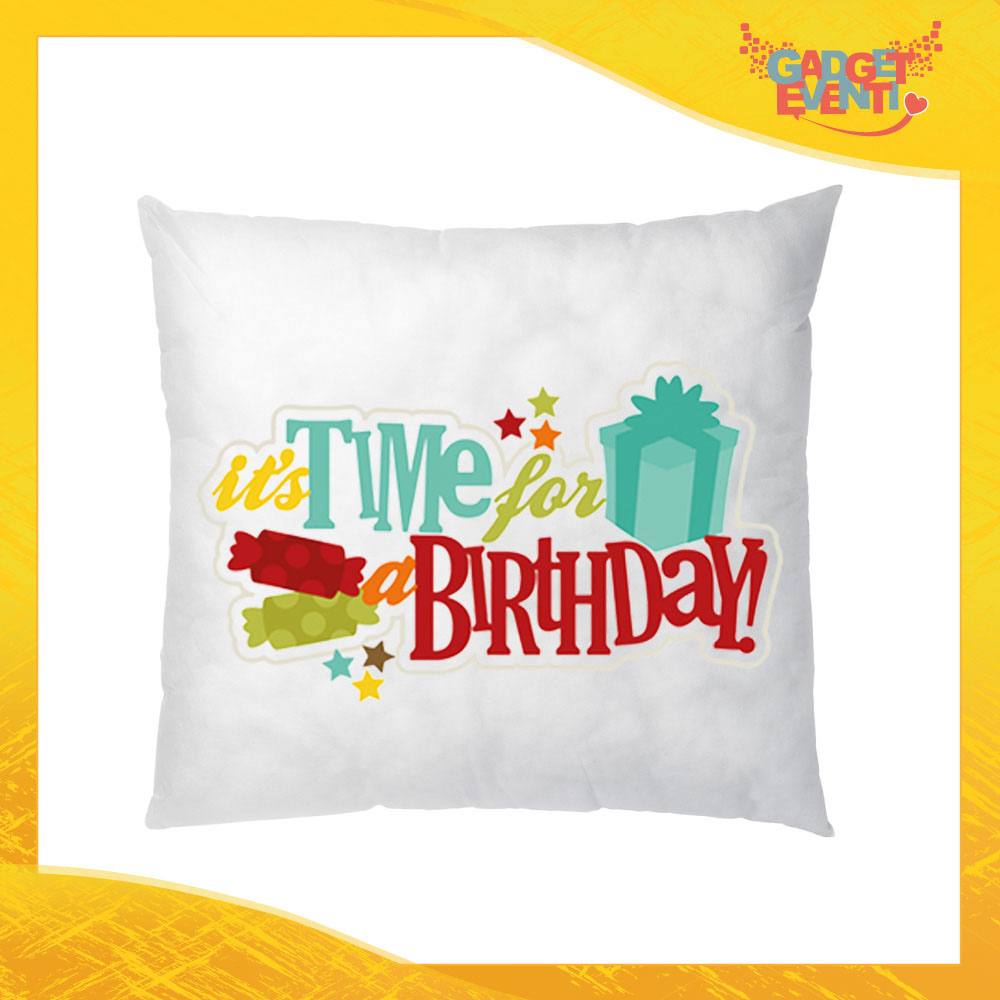 """Cuscino Quadrato Divano Letto Poltrona """"Time for Birthday"""" Idea Regalo per Compleanni Gadget Eventi"""