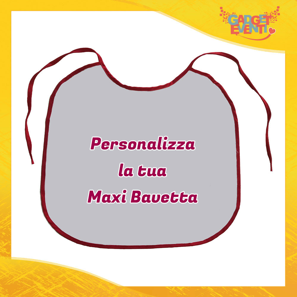 Bavaglione Maxi Bavetta con Bordo Rosso Personalizzata con Foto Testo e Immagini Idea Regalo Gadget Eventi