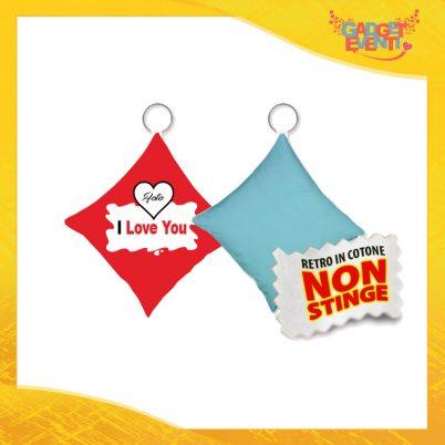 """Mini Cuscino di San Valentino Personalizzato Retro Celeste """"I Love You con Foto Barretta"""" Mini Federa dell'amore Idea Regalo per Innamorati Gadget Eventi"""