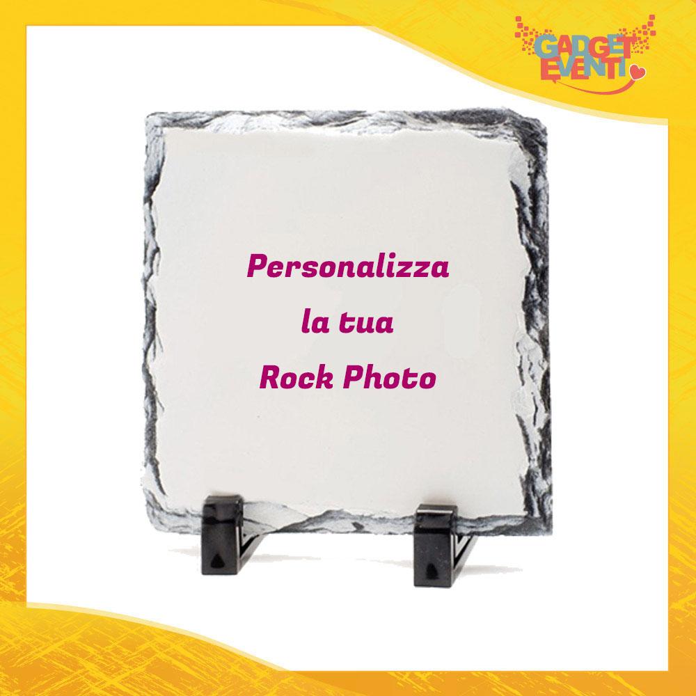 Rock Photo Pietra Quadrata con Supporti da Tavolo personalizzata con Foto Testi e Immagini Simpatica Idea Regalo Gadget Eventi
